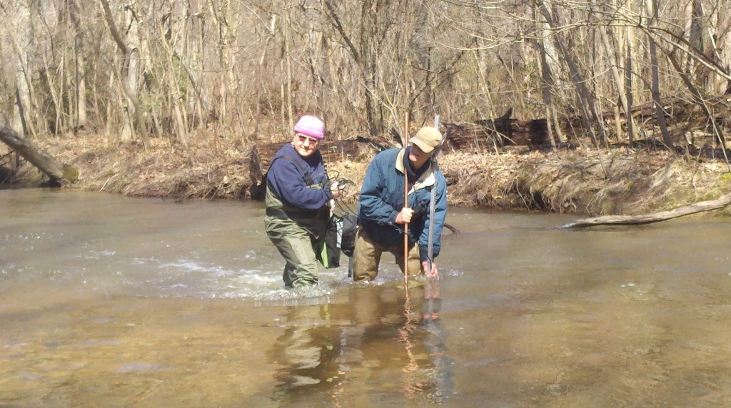 Monitoring for fish eggs in a tributary of the Mattawoman Creek