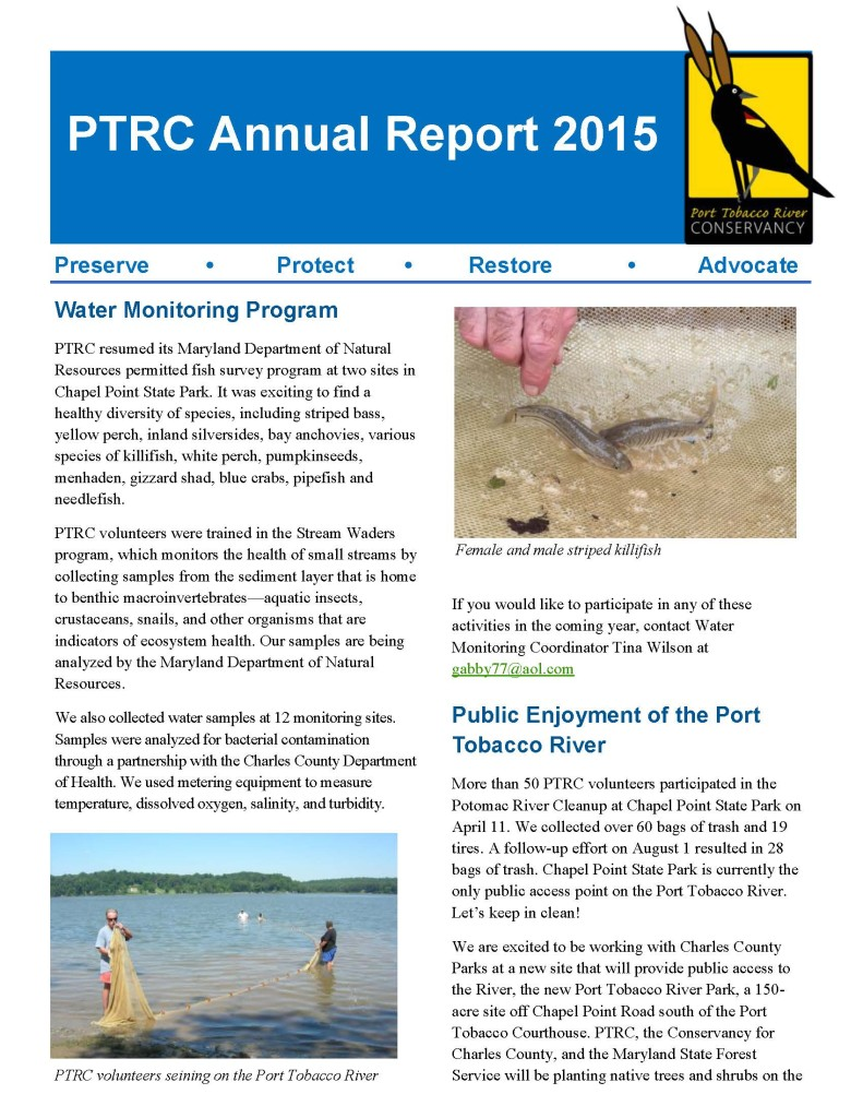 PTRC Annual Report 2015 Final page 1