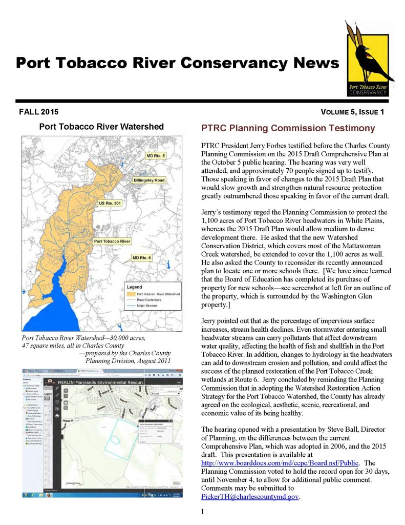 PTRC Newsletter Fall 2015 FINAL page 1