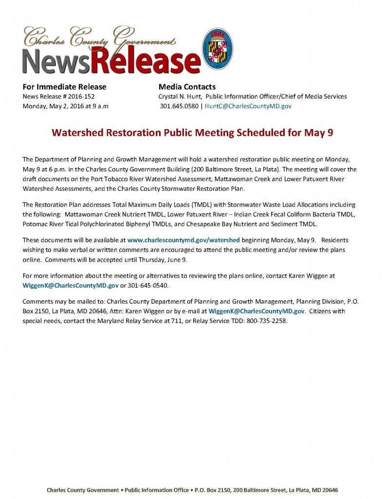 Watershed Restoration Public Meeting Scheduled for May 9